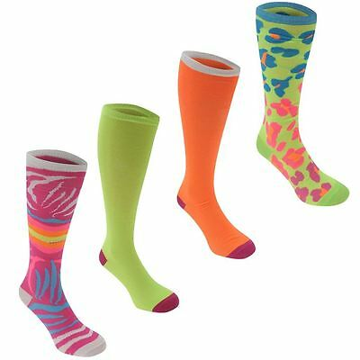 4 Pairs Knee Length Ladies Plain/Jazzy Design Socks Pink Multi Print/Plains 4-8
