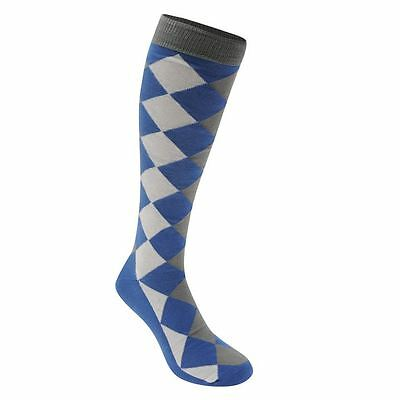 1 Pair Blue / Grey/White Footgolf  Men's Argyle Golf Socks Padded Foot 7 /11 New