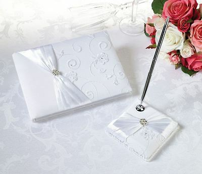 Delightfully Made Lace Wedding Guest Books & Pen Set - White