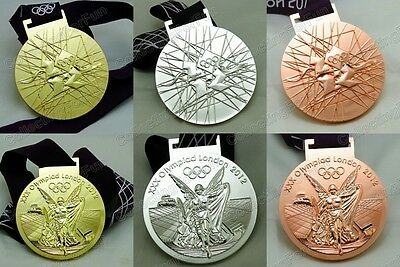 Full Set of 3 London 2012 Olympics Winners Medals Gold Silver Bronze with Ribbon