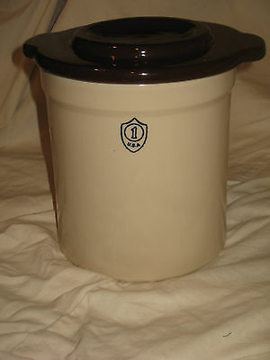 1-Gallon Ohio Stoneware Pickling Crock and lid  NEW!