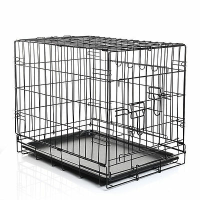 Folding Dog Cat Puppy Pet Metal Wire Cage Crate Carrier Playpen Travel Pen Black