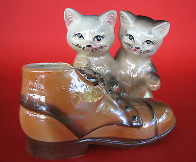 Cute Vintage Lustreware Ornament Planter Vase - Two Cats Kittens in a Boot