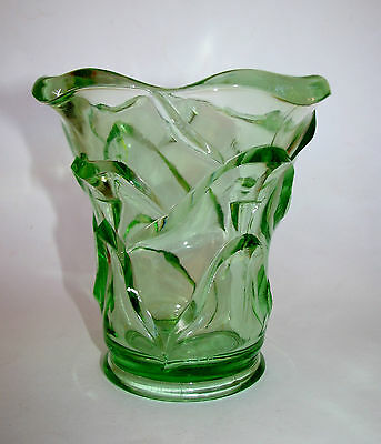 Vintage Crown Crystal Australia Green Depression Glass 'Petals' Vase