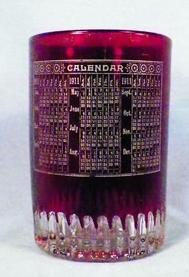 Rare Kings Royal Ruby Stained Tumbler 1911 Calendar Early American Pattern Glass