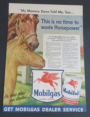 Original 1942 Print Ad MOBILGAS MOBILOIL Red Horse No Time Waste Horsepower