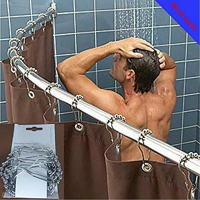 1PCS New Stainless Steel Heavy Duty 5 Balls Curtain Rings Hooks For Bathroom Rod