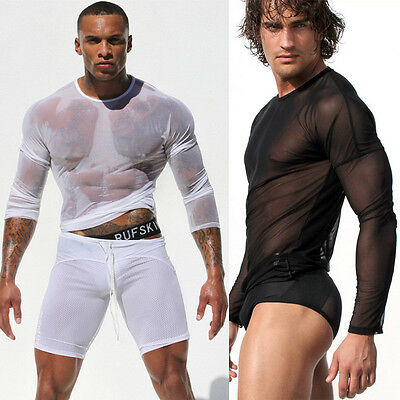Hot Sexy Men's Cool Mesh See-through Skin Tight Fitted Long Sleeve Tops T-shirt