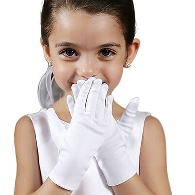 Girl White Elastic Short Satin Feel Gloves Hold Flower Performance Dance Kid