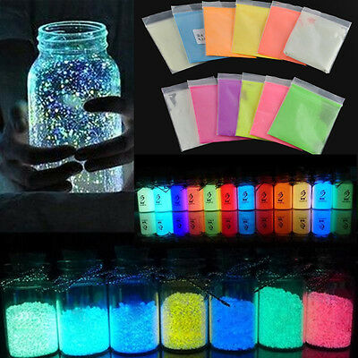12 Color Paint Glow Pigment Fluorescent Super Bright Glow in the Dark Powder DIY