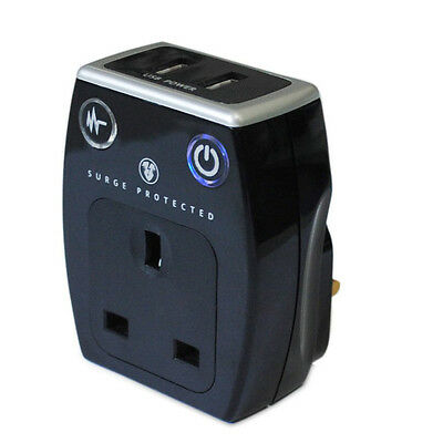 Masterplug SRGAUSBPB-MP Surge Protected Mains Dual USB 2.1 Charger