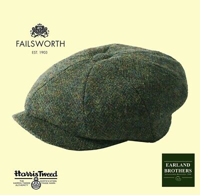 Failsworth Newsboy Carloway Cap Harris Tweed Button Cap Peaky Shelby Cap Green
