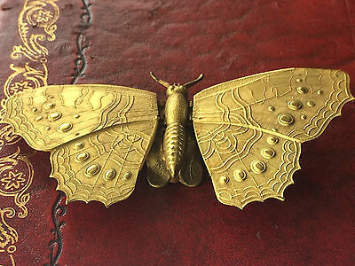 Rare Antique W Avery Gilded Butterfly Needle Case Patent 4 August 1871