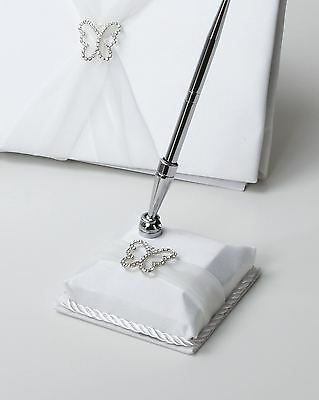 Satin Butterfly Reception Guest Book Wedding Pen Set & Holder With Organza Sash
