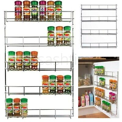 Marvelous 4 Tier Wall Mountable Spice Rack Herb Holder Jar Kitchen Storage Holds 32  Jar