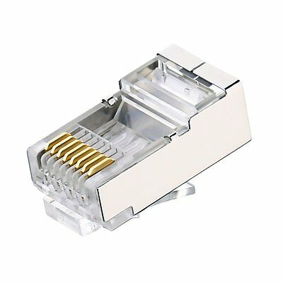 50 x Shielded RJ45 Crimp Connector Modular Plug 8P8C CAT6 CAT6a STP LAN Network