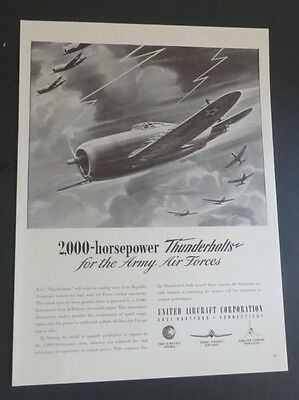 Original 1942 Print Ad UNITED AIRCRAFT Thunderbolts Army Air Force WWII Laune