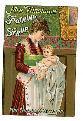 Victorian Trade Card MRS WINSLOWS SOOTHING SYRUP Children Teething remedy cure