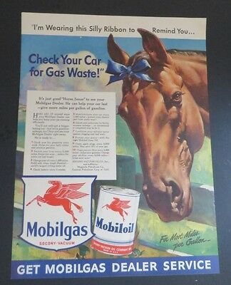 Original 1942 Print Ad MOBILOIL MOBILGAS Horse Ribbon Gas Waste Check