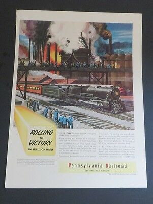 Original 1942 Print Ad PENNSYLVANIA RAILROAD Rolling to Victory WWII