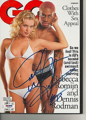 DENNIS RODMAN Signed GQ Magazine with PSA COA (NO Label)