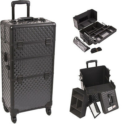 Professional Rolling Makeup Train Case Trolley Aluminum 2n1 Organizer Sunrise