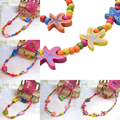 Girls Kids Toddlers Children Cute Necklace Bracelet Wood Jewelry Beach Gift AT