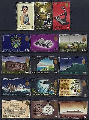 1969-1975 Pitcairn Islands Definitives Complete Set Of 15 Fine Mint Mnh/muh