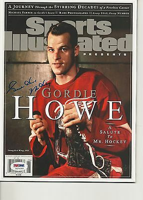 GORDIE HOWE Signed SPORTS ILLUSTRATED with PSA COA (NO Label) w/ Mr. Hockey Insc