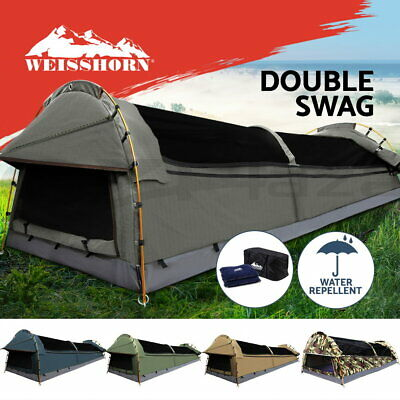 WEISSHORN Double Swag Camping Swags Canvas Tent Deluxe Kings Poles Daddy Bag