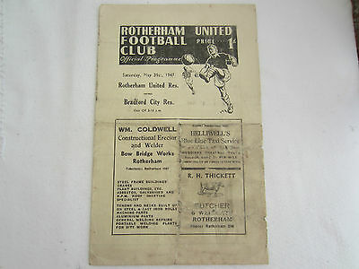 1946-47  ROTHERHAM UNITED RESERVES v BRADFORD CITY RESERVES