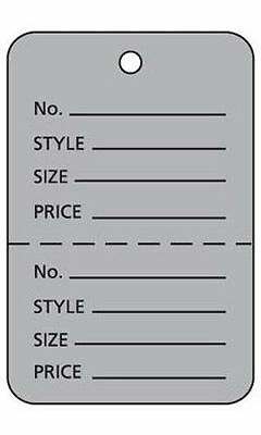 """Box of 1000 New Retails Large Grey Unstrung Coupon Price Tags 1¾""""W x 2⅞""""H"""