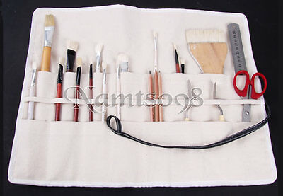 ROLL UP Storage CANVAS Bag/Multi slots Brush DIY Tools Organizer Carrier Case
