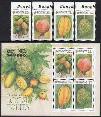 SINGAPORE MNH 1993 LOCAL FRUITS Stamps and minisheet