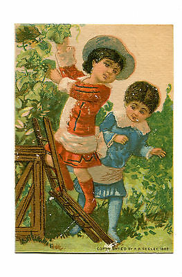 Victorian Trade Card GREAT AMERICAN TEA CO Children Picking Grapes