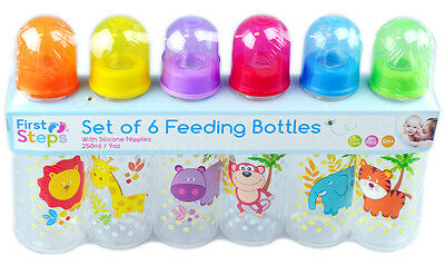 Baby Bottles Pack Of 6 Baby Feeding Jungle Animals 250ml 9oz BPA Fee 0m+