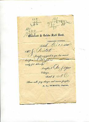 Vintage Freight Office Arrival Notice  CLEVELAND & TOLEDO RAILROAD  1860