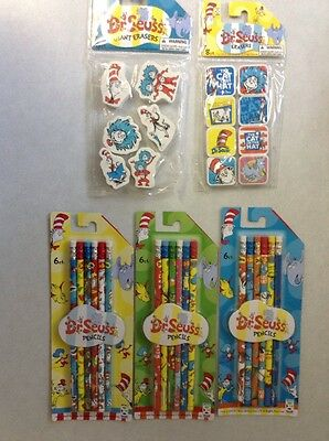 New Lot Dr. Seuss  18 Pencils And 12 Erasers