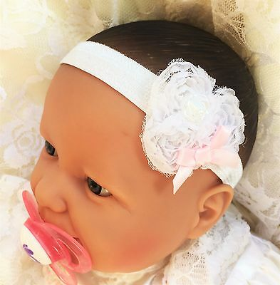 Baby Girl White Headband with White Chiffon Flower Pink Satin Bow Christening