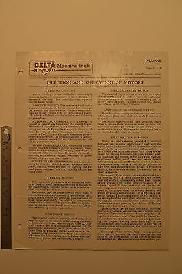 #J52 DELTA MILWAUKEE Machine Tools Selection and Operation of Motors 1943 Manual