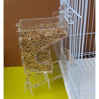 Acrylic Pet Parrot Bird Automatic Tidy Cage Feeder Size M Double Hopper