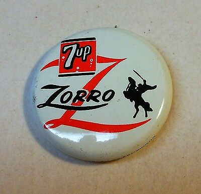 """Vintage 7up 1957 """"Zorro"""" Pin Back Button"""