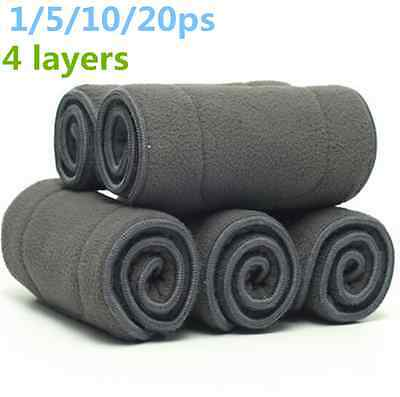 4 layers Inserts Baby Nappies Washable Bamboo Fiber Cloth Diaper Microfiber