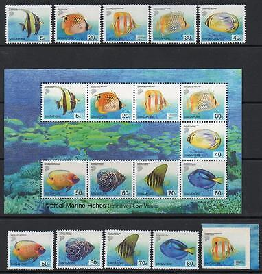 SINGAPORE MNH 2001 MARINE FISH DEFINITIVES Stamps and minisheet