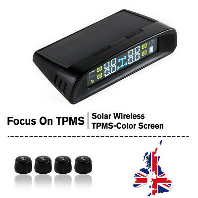 Solar Wireless TPMS Car Tire Tyre Pressure Monitoring System+ 4 External Sensors