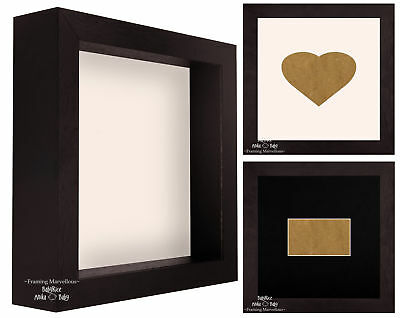 Brown Shadow Box Deep Display Picture Photo 3D Wooden Frame Heart SIZE + COLOUR