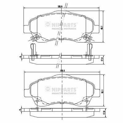 To Clear - New Oe Quality Nipparts - Front - Brake Pads Set - J3602112