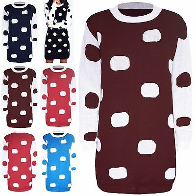 Womens Ladies Knitted Polka Dot Contrast Sleeves Baggy Long Tunic Jumper Dress