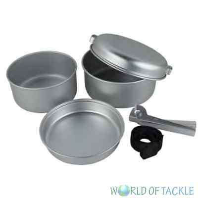 5 Pc Piece Aluminium Camp Camping Fishing Cook Set Frying Pan Pots Yellowstone