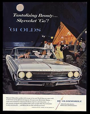 "Original 1961 ""oldsmobile 98"" Skyrocket Engine Vintage Art Print Ad"